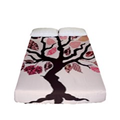 Tree Butterfly Insect Leaf Pink Fitted Sheet (full/ Double Size) by Alisyart