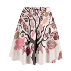 Tree Butterfly Insect Leaf Pink High Waist Skirt by Alisyart