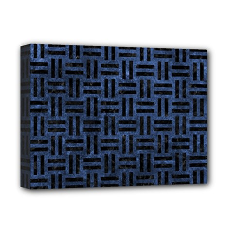 Woven1 Black Marble & Blue Stone (r) Deluxe Canvas 16  X 12  (stretched)  by trendistuff