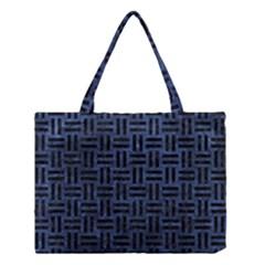 Woven1 Black Marble & Blue Stone (r) Medium Tote Bag by trendistuff