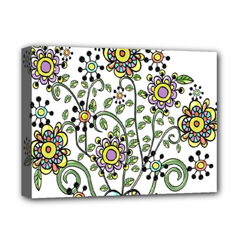 Frame Flower Floral Sun Purple Yellow Green Deluxe Canvas 16  X 12   by Alisyart