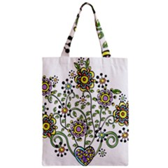 Frame Flower Floral Sun Purple Yellow Green Zipper Classic Tote Bag by Alisyart