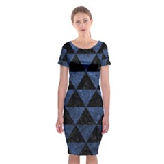 Triangle3 Black Marble & Blue Stone Classic Short Sleeve Midi Dress by trendistuff