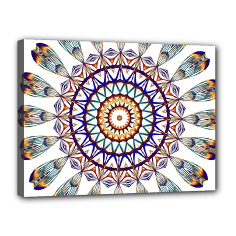 Circle Star Rainbow Color Blue Gold Prismatic Mandala Line Art Canvas 16  X 12  by Alisyart