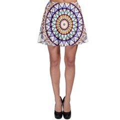Circle Star Rainbow Color Blue Gold Prismatic Mandala Line Art Skater Skirt