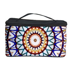 Circle Star Rainbow Color Blue Gold Prismatic Mandala Line Art Cosmetic Storage Case by Alisyart