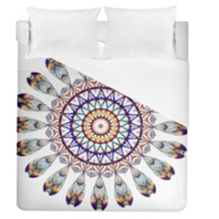 Circle Star Rainbow Color Blue Gold Prismatic Mandala Line Art Duvet Cover (queen Size) by Alisyart