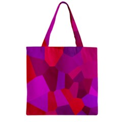 Voronoi Pink Purple Zipper Grocery Tote Bag by Alisyart