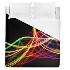 Vortex Rainbow Twisting Light Blurs Green Orange Green Pink Purple Duvet Cover (queen Size) by Alisyart