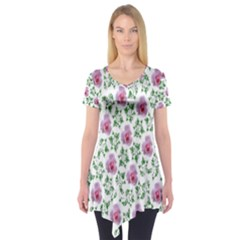 Rose Flower Pink Leaf Green Short Sleeve Tunic  by Alisyart