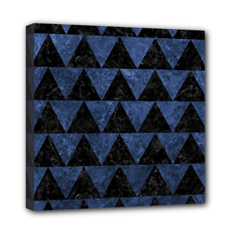 Triangle2 Black Marble & Blue Stone Mini Canvas 8  X 8  (stretched) by trendistuff