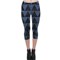 Triangle2 Black Marble & Blue Stone Capri Leggings  by trendistuff