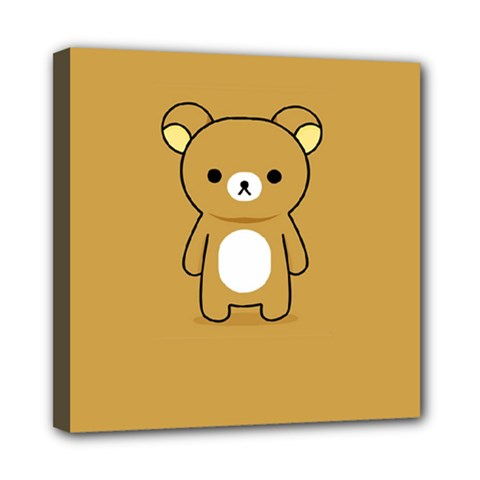 Bear Minimalist Animals Brown White Smile Face Mini Canvas 8  X 8  by Alisyart