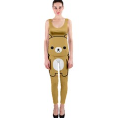 Bear Minimalist Animals Brown White Smile Face Onepiece Catsuit by Alisyart