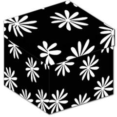 Black White Giant Flower Floral Storage Stool 12   by Alisyart
