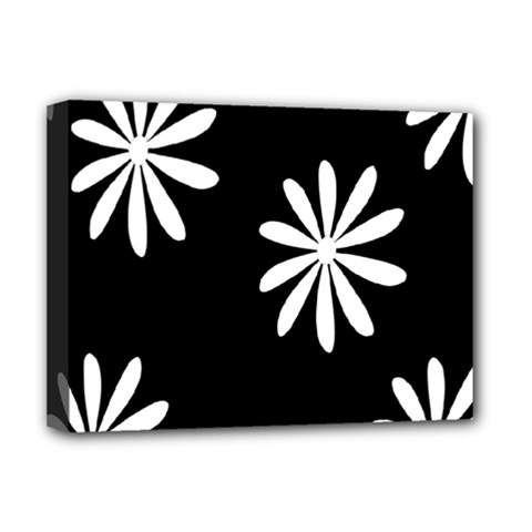 Black White Giant Flower Floral Deluxe Canvas 16  X 12   by Alisyart