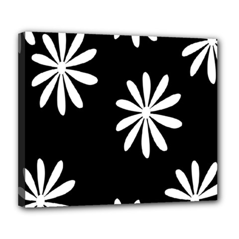 Black White Giant Flower Floral Deluxe Canvas 24  X 20   by Alisyart