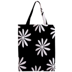 Black White Giant Flower Floral Classic Tote Bag by Alisyart