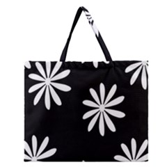 Black White Giant Flower Floral Zipper Large Tote Bag by Alisyart
