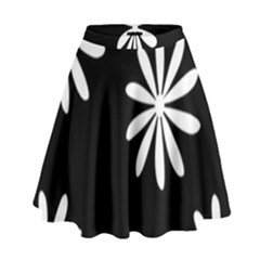 Black White Giant Flower Floral High Waist Skirt by Alisyart