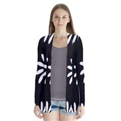 Black White Giant Flower Floral Cardigans