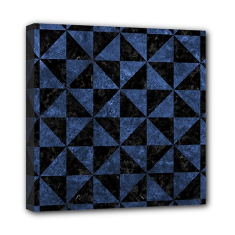 Triangle1 Black Marble & Blue Stone Mini Canvas 8  X 8  (stretched) by trendistuff