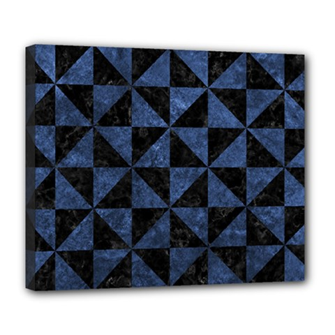 Triangle1 Black Marble & Blue Stone Deluxe Canvas 24  X 20  (stretched) by trendistuff