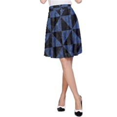 Triangle1 Black Marble & Blue Stone A Line Skirt by trendistuff