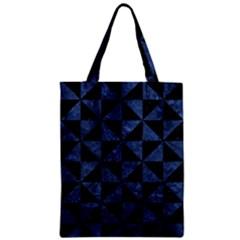 Triangle1 Black Marble & Blue Stone Zipper Classic Tote Bag by trendistuff
