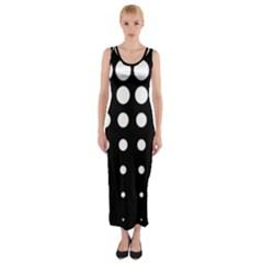 Circle Masks White Black Fitted Maxi Dress by Alisyart