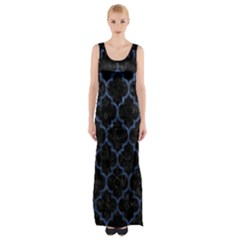 Tile1 Black Marble & Blue Stone Maxi Thigh Split Dress by trendistuff