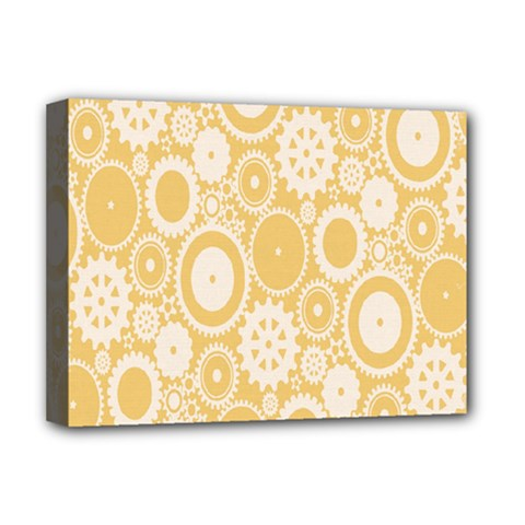 Wheels Star Gold Circle Yellow Deluxe Canvas 16  X 12   by Alisyart