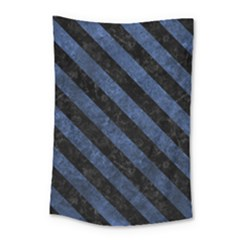 Stripes3 Black Marble & Blue Stone (r) Small Tapestry
