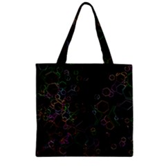 Boxs Black Background Pattern Zipper Grocery Tote Bag by Simbadda