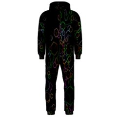 Boxs Black Background Pattern Hooded Jumpsuit (men)