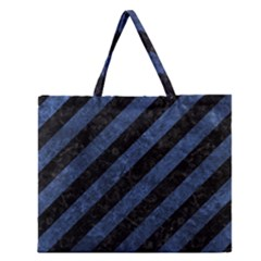 Stripes3 Black Marble & Blue Stone Zipper Large Tote Bag by trendistuff