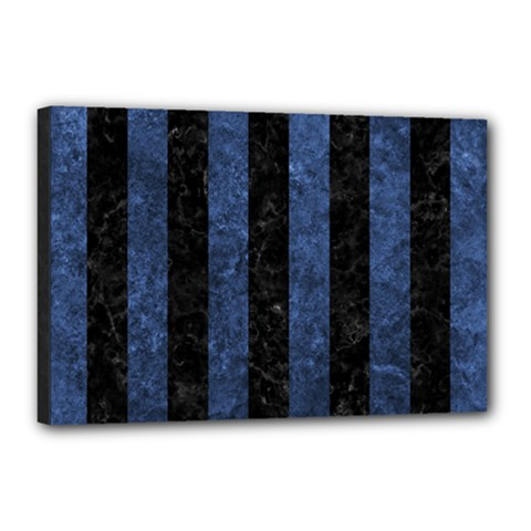 Stripes1 Black Marble & Blue Stone Canvas 18  X 12  (stretched) by trendistuff