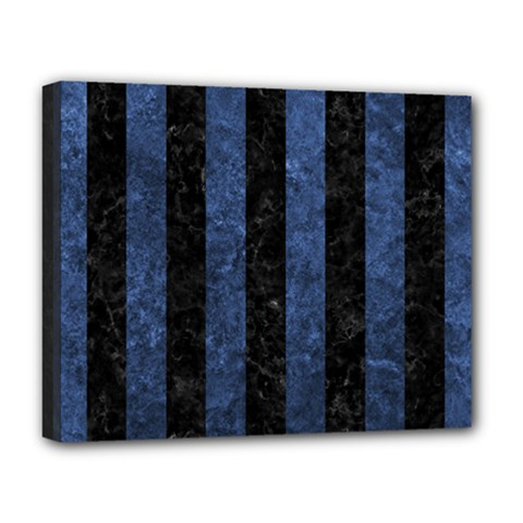 Stripes1 Black Marble & Blue Stone Deluxe Canvas 20  X 16  (stretched) by trendistuff