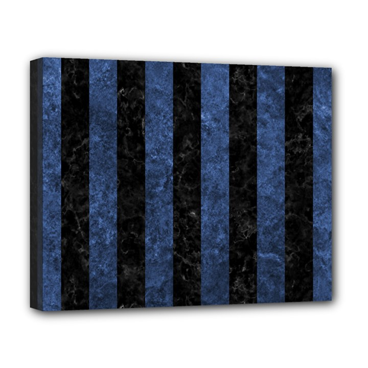 STRIPES1 BLACK MARBLE & BLUE STONE Deluxe Canvas 20  x 16  (Stretched)