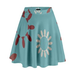 Fish Animals Star Brown Blue White High Waist Skirt by Alisyart