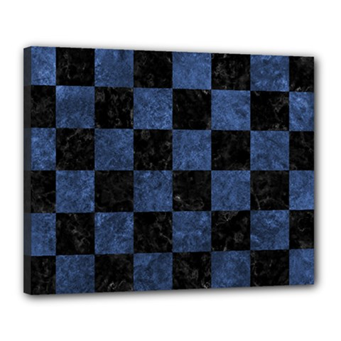 Square1 Black Marble & Blue Stone Canvas 20  X 16  (stretched) by trendistuff