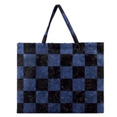 Square1 Black Marble & Blue Stone Zipper Large Tote Bag by trendistuff