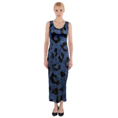 Skin5 Black Marble & Blue Stone Fitted Maxi Dress by trendistuff