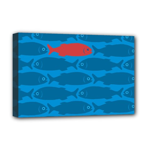 Fish Line Sea Beach Swim Red Blue Deluxe Canvas 18  X 12   by Alisyart