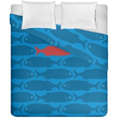Fish Line Sea Beach Swim Red Blue Duvet Cover Double Side (california King Size) by Alisyart
