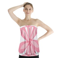 Pink Lily Flower Floral Strapless Top