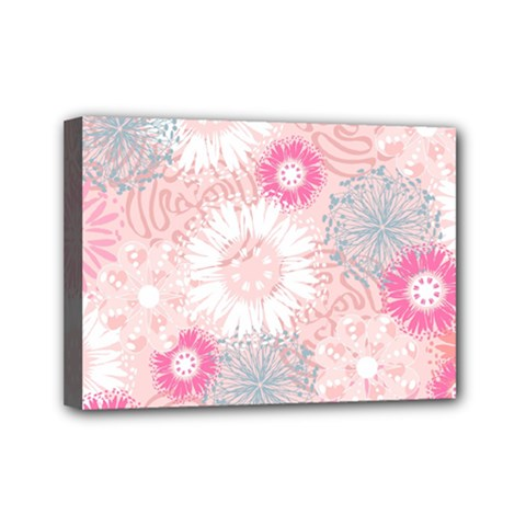 Flower Floral Sunflower Rose Pink Mini Canvas 7  X 5  by Alisyart