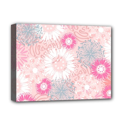 Flower Floral Sunflower Rose Pink Deluxe Canvas 16  X 12   by Alisyart