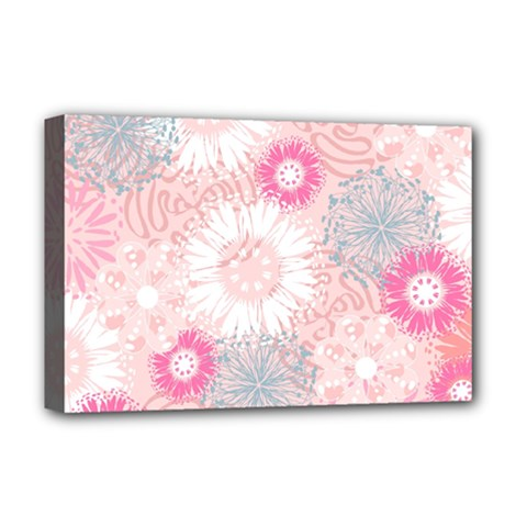 Flower Floral Sunflower Rose Pink Deluxe Canvas 18  X 12   by Alisyart