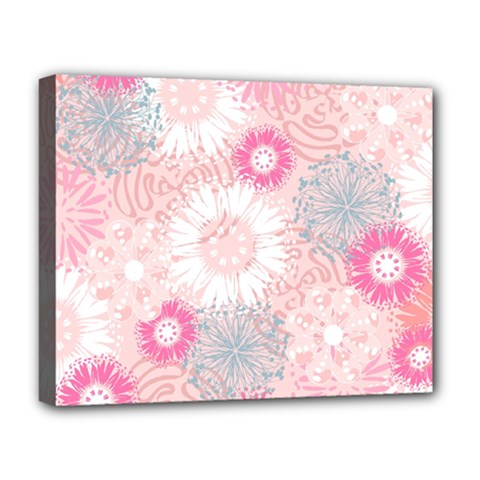 Flower Floral Sunflower Rose Pink Deluxe Canvas 20  X 16   by Alisyart